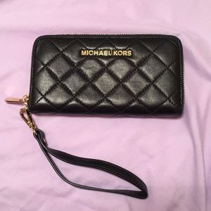 black leather quilted Michael kors wristlet